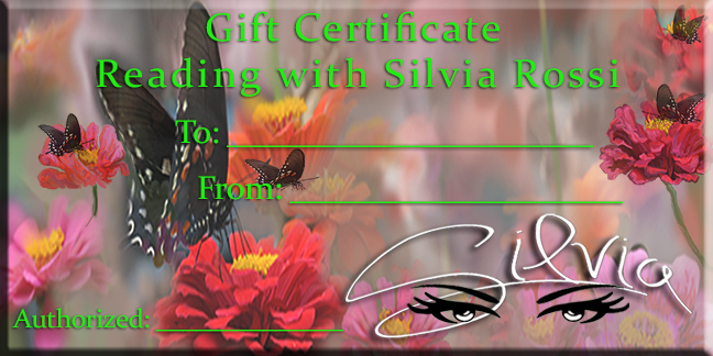 Holiday Gift Certificate for a Private Reading with Silvia Rossi.